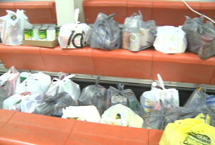 Food donated by students