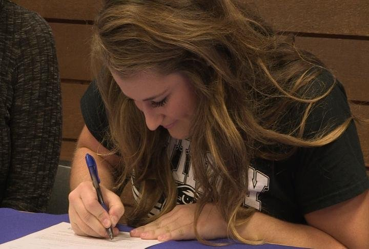 Quincy High's Roni Wingerter signed her national letter of intent with the Quincy University softball program Thursday.