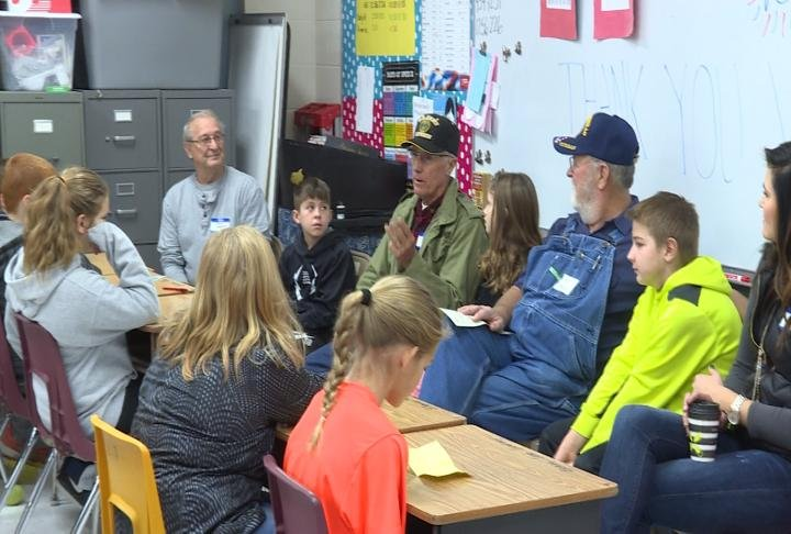 Veterans spoke with students on Friday.