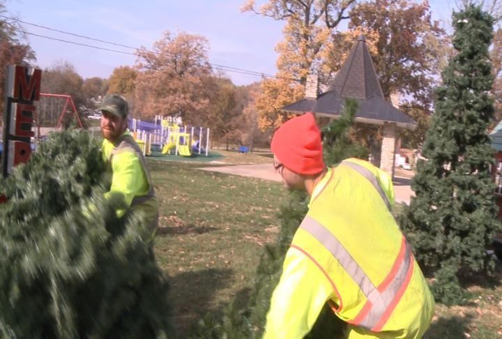 Volunteers helping put the displays together.