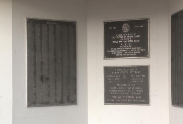 Plaques on War Memorial need to be redone so names are legible.