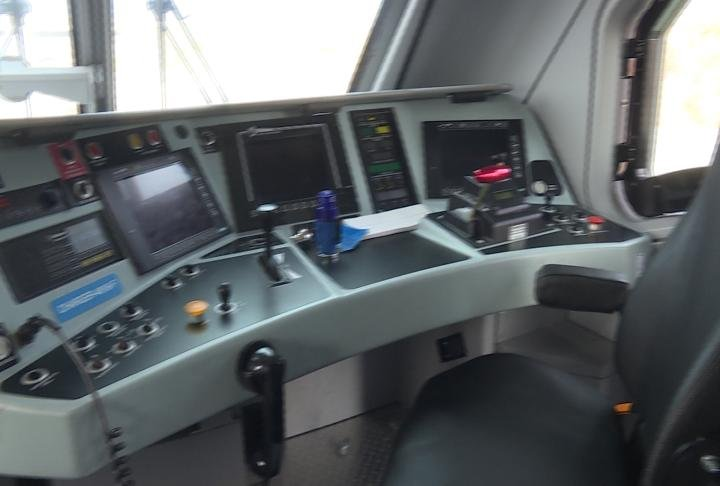 Controls of the Amtrak Charger locomotive.