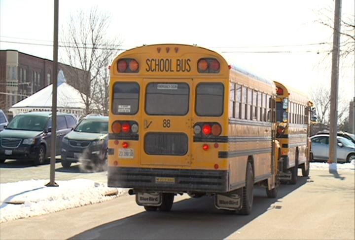 Bus drops off kids last winter at Early Childhood Center in Quincy.