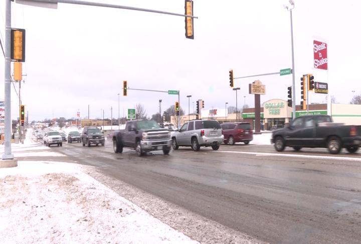 Traffic during a previous snowfall. (File Photo)