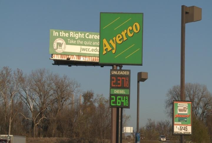 Ayerco sign in West Quincy, Missouri shows price for gas at 2.37.