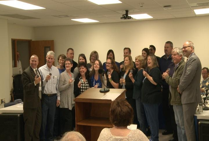 Union members and board members were recognized on Tuesday.