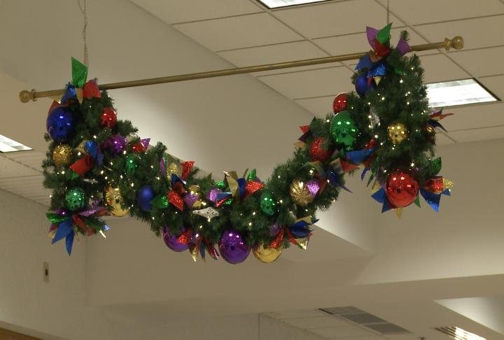 The mall was decorated for the holidays.