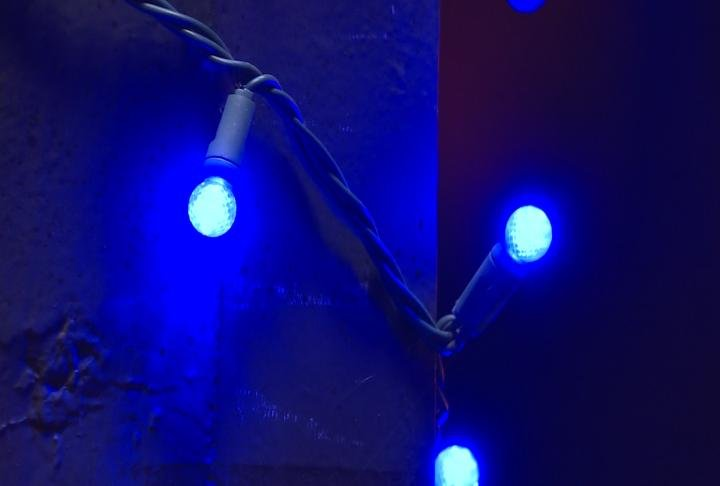 Blue lights used in the park.