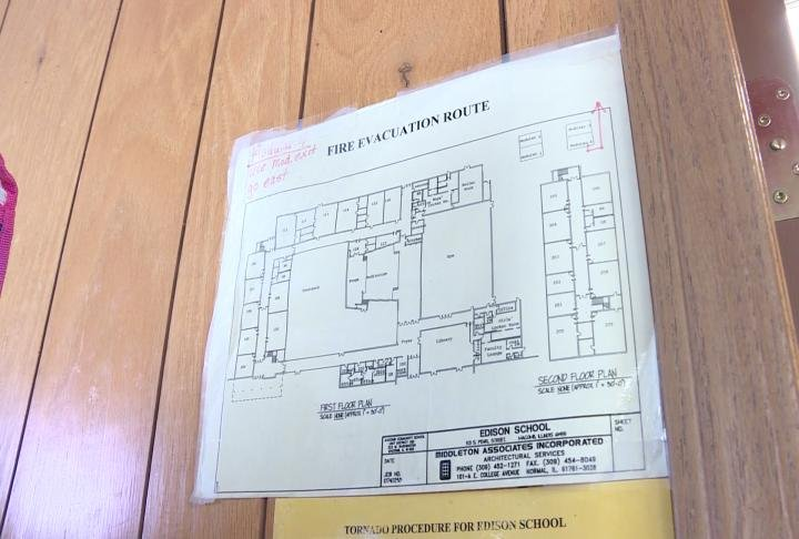 Fire safety plan inside one of the trailers