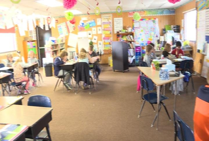 A classroom inside a trailer
