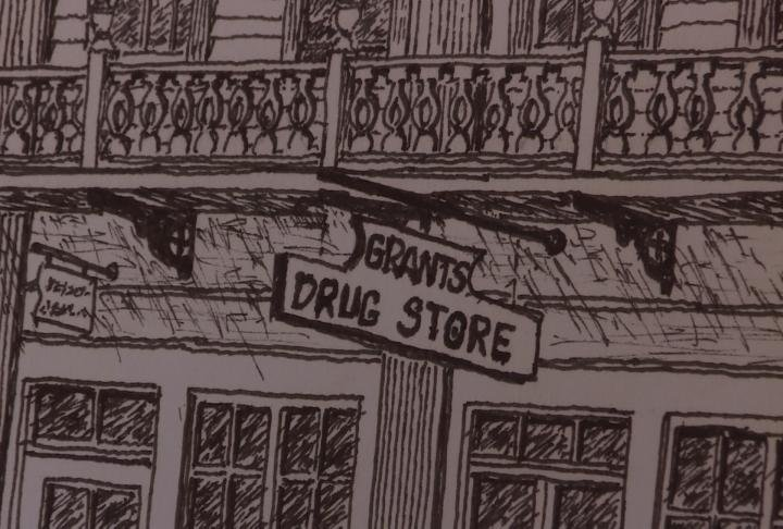 The Pilaster House is also referred to as Grant's Drug Store.