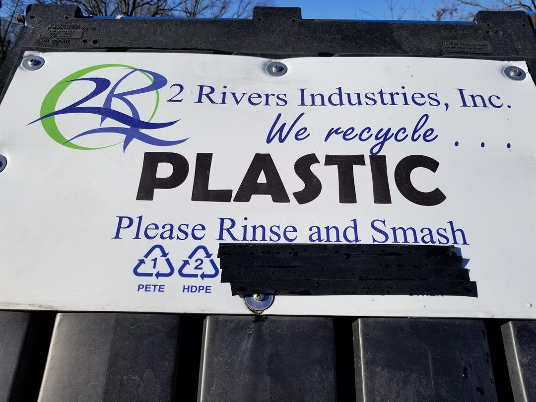Sign at 2 Rivers showing certain plastics crossed off.