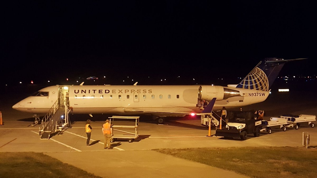 SkyWest's Jet lands in Quincy sporting United Express on its side.