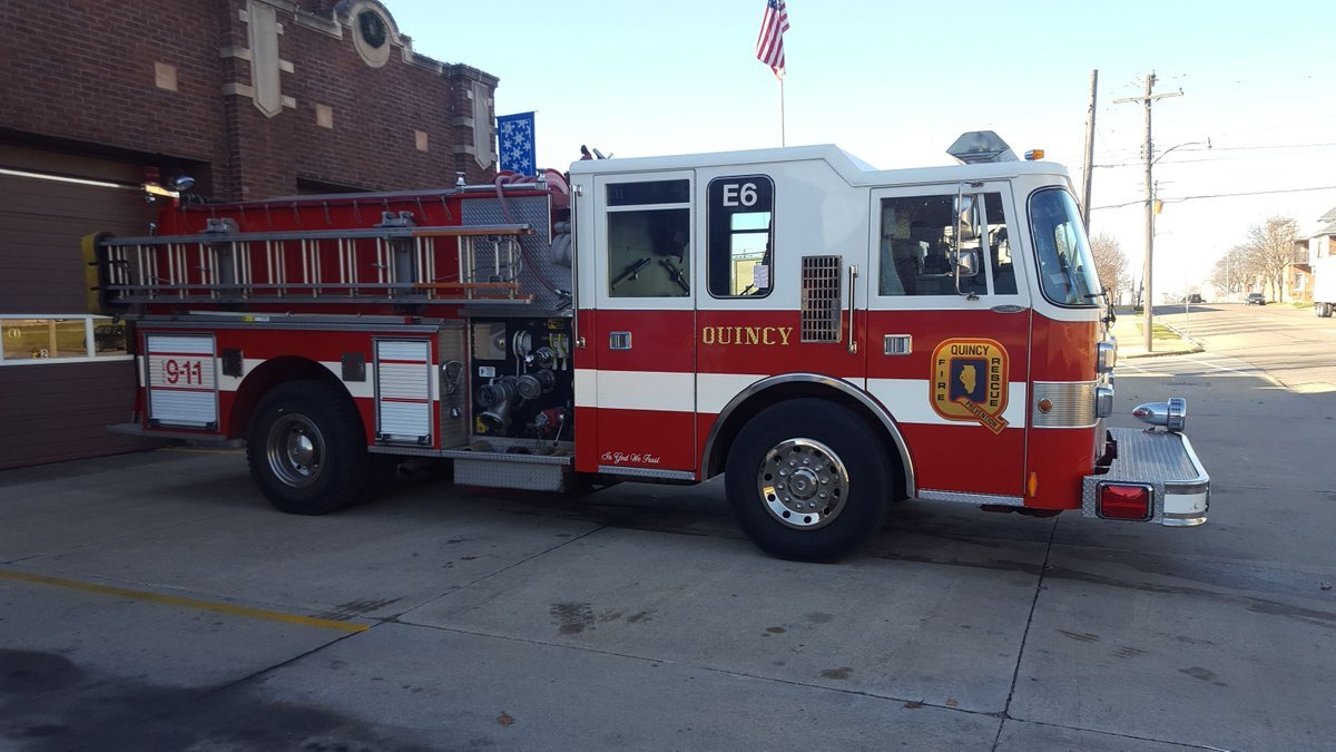 Quincy firetruck parked outside of Central Station.