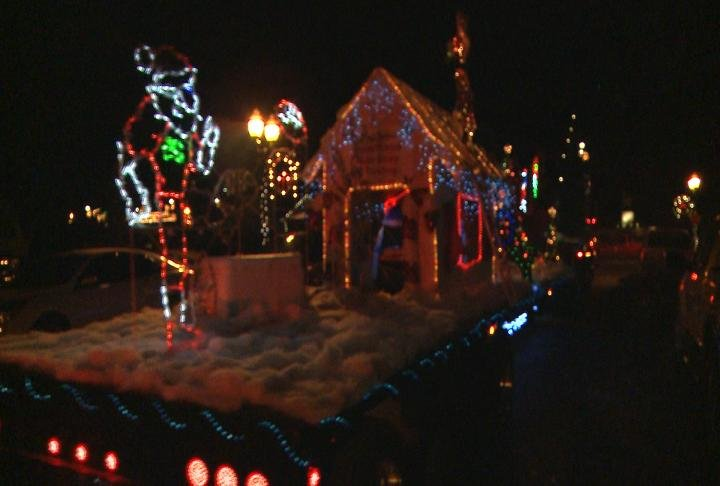 Lights and floats on display at Christmas Parade in Hannibal.