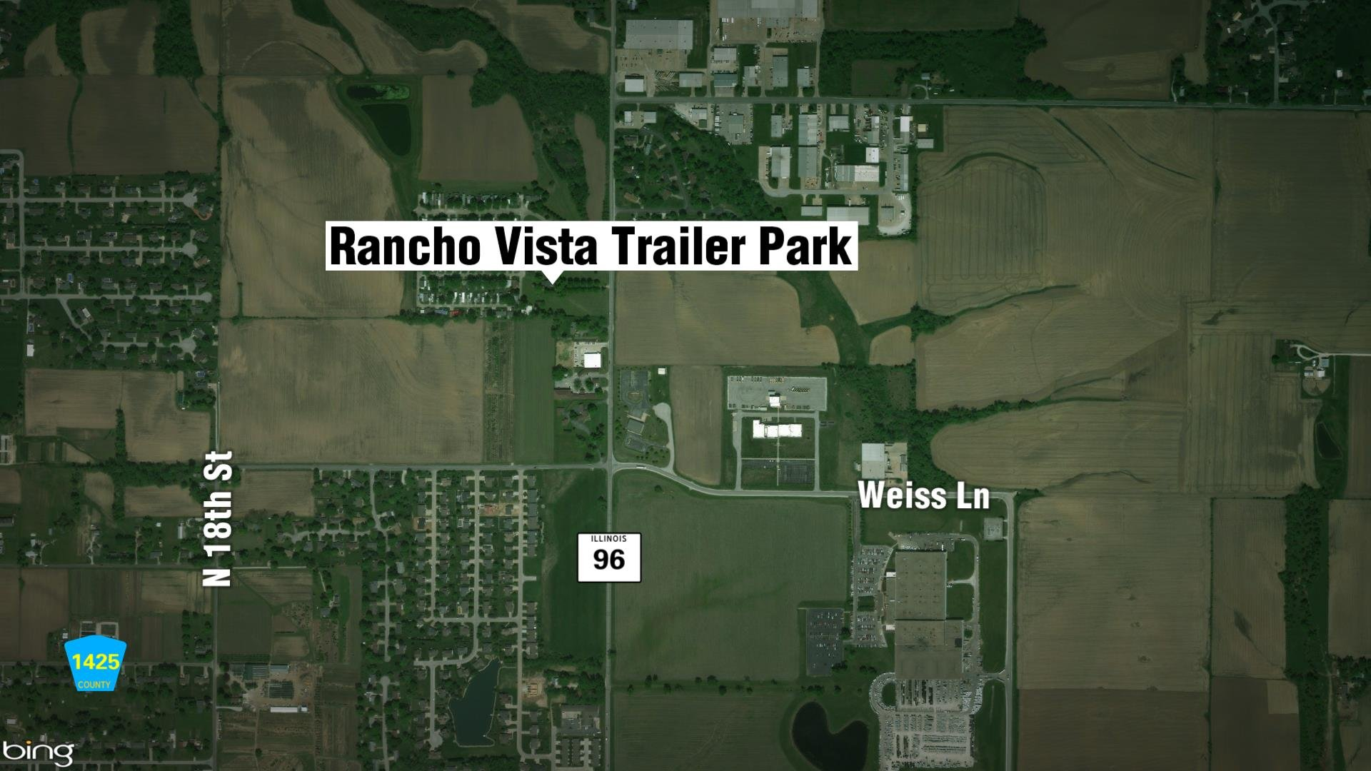 Map of where Rancho Vista trailer Park is in Quincy.