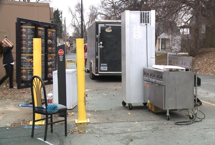 Equipment outside of the Hardee's at 12th and Jefferson in Quincy.