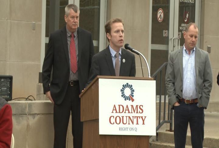 Mayor Kyle Moore speaks at the event.