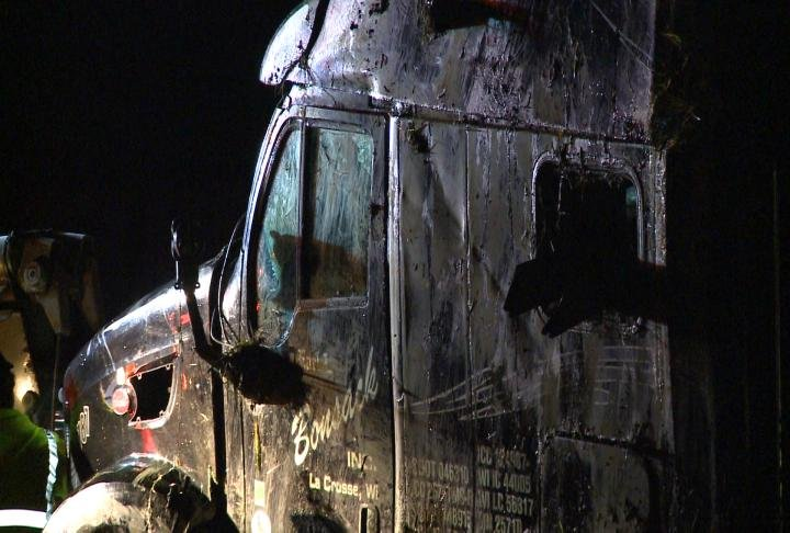 A shot of the semi damaged in Monday night's crash