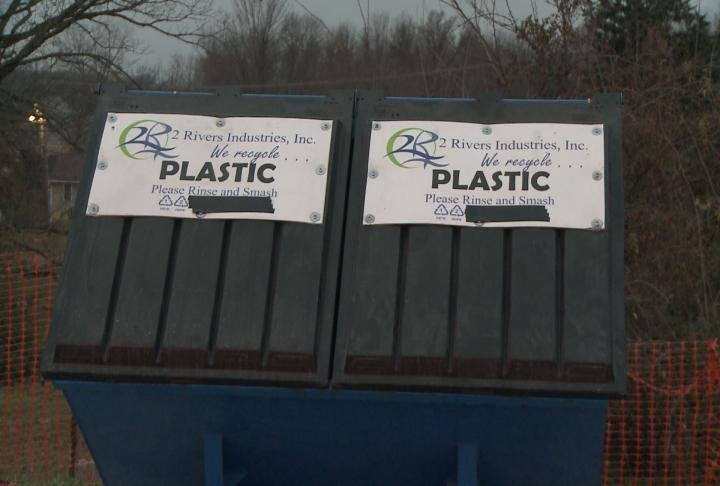 Plastic recycling bins at 2 Rivers Industries, Inc. of Hannibal.