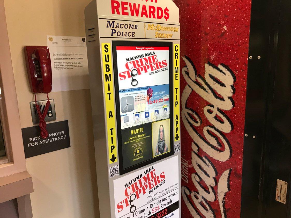 The new kiosk inside the Sheriff's Office