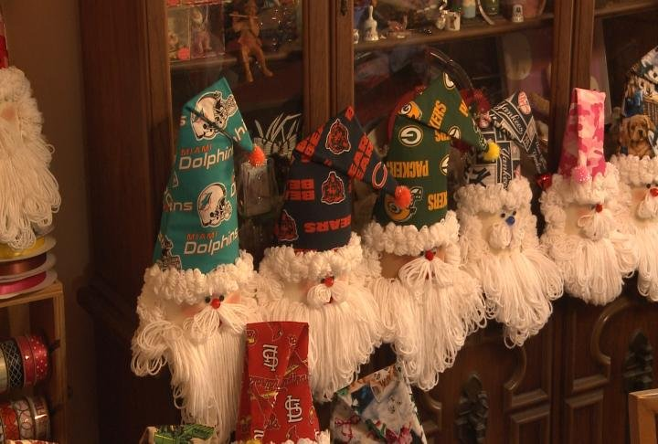 These handmade Santas can be customized to the customer's liking.