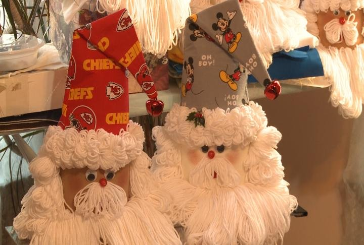 These handmade santas are being sold for Toys for Tots.