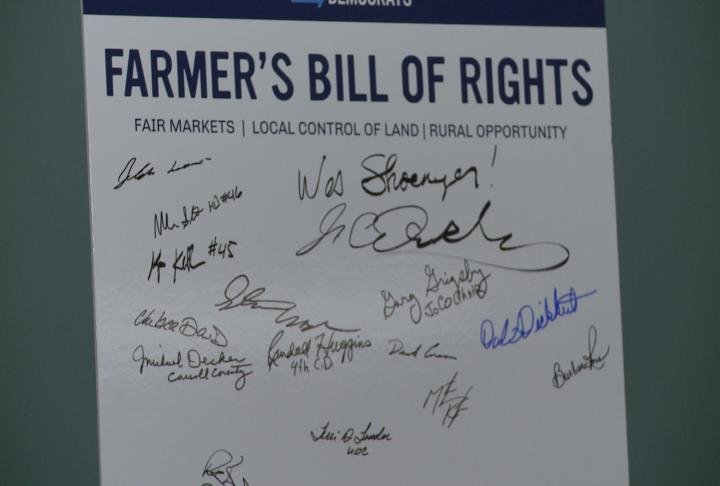 Board of signatures of those who support Farmer's Bill of Rights.