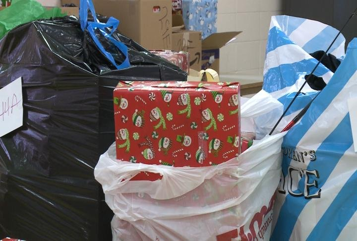Families in Lewis County, Missouri picked up gifts on Friday