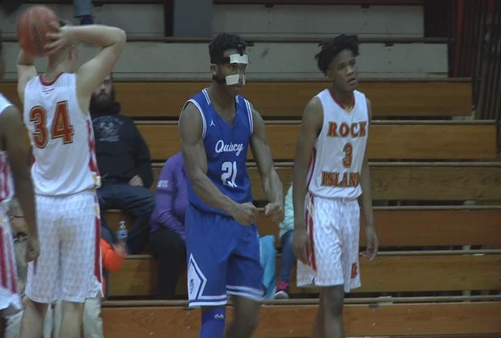 Jirehl Brock and Quincy High flexed their muscles in an overtime win at Rock Island.