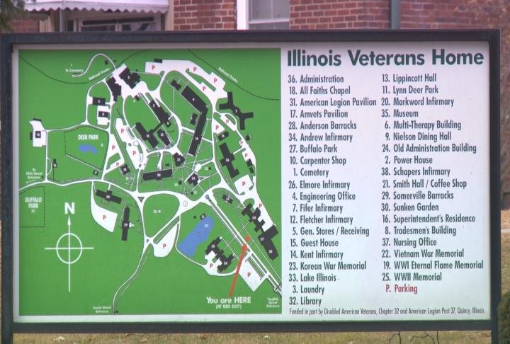 Sign shows location of points around the Illinois Veteran's Home.
