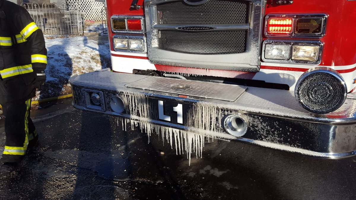 Water froze quickly to the fire truck.
