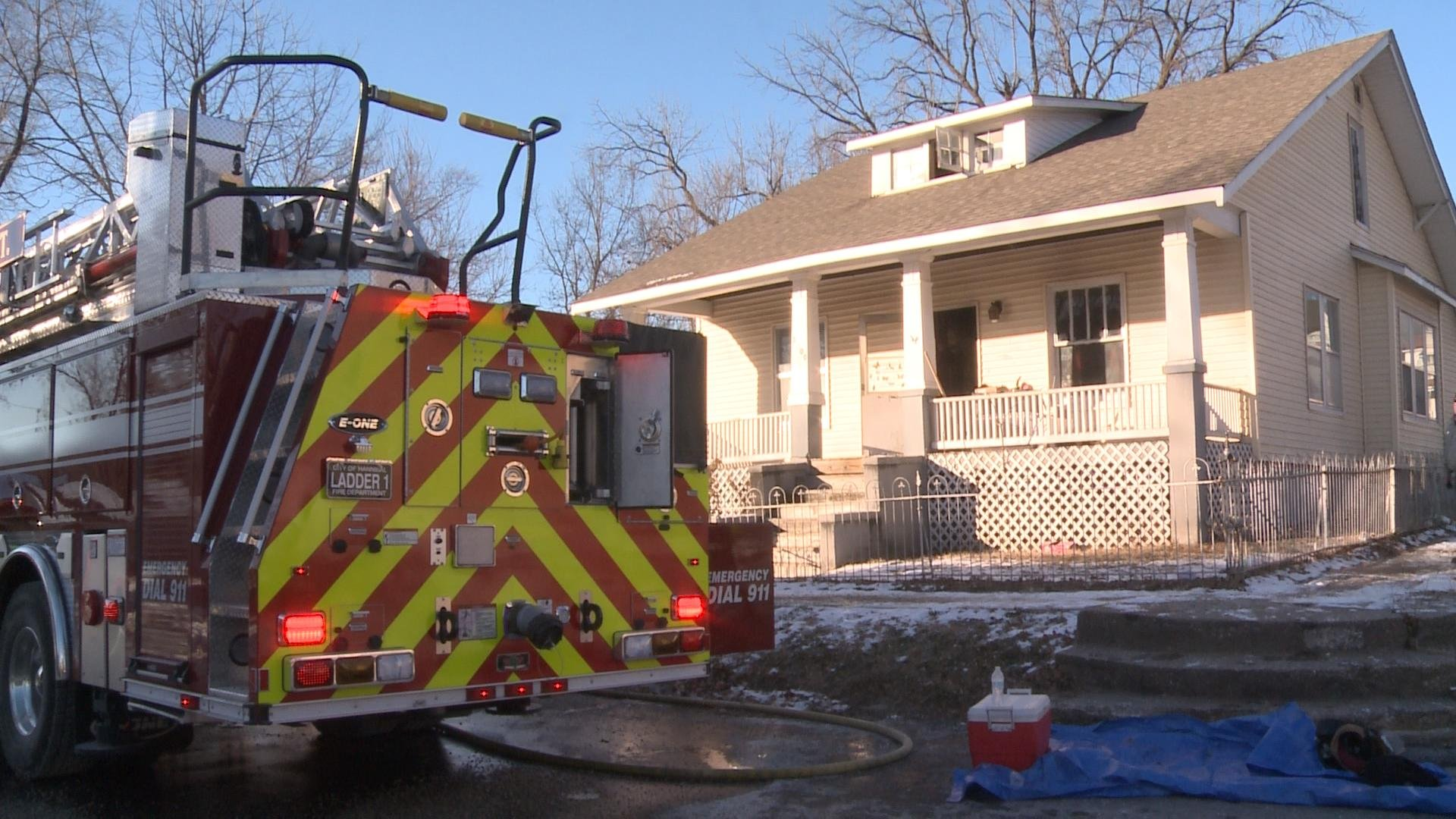 Hannibal firefighters dealt with a frozen hydrant while battling a house fire Monday in the 1900 block of Hope Street.