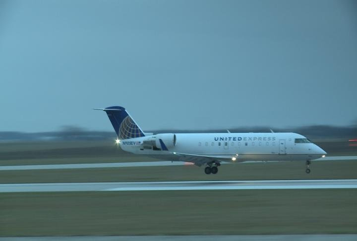 SkyWest jet lands at Quincy Regional Airport.
