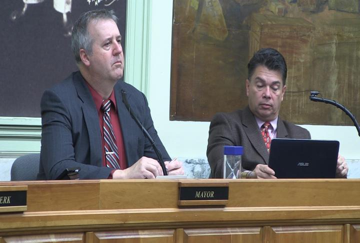 Hannibal Mayor James Hark at Tuesday night's city council meeting.