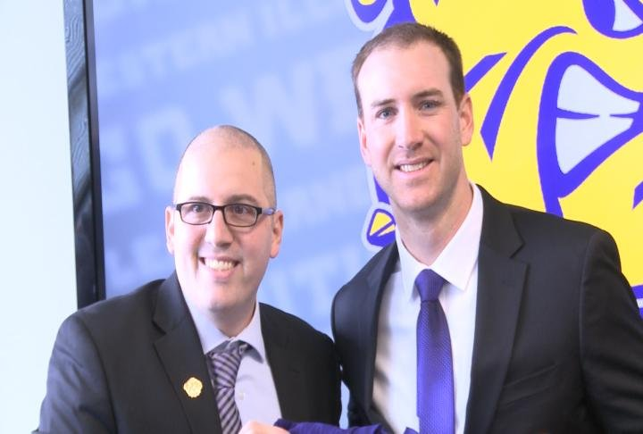 WIU athletic director Matt Tanney (left) introduced Jared Elliott (right) as the new head coach of the football program Thursday morning.