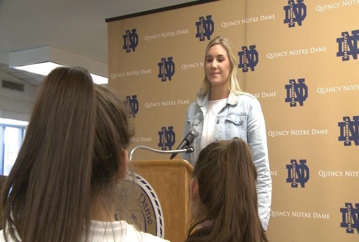 QND introduced Courtney Kvitle as the new volleyball coach on Friday.