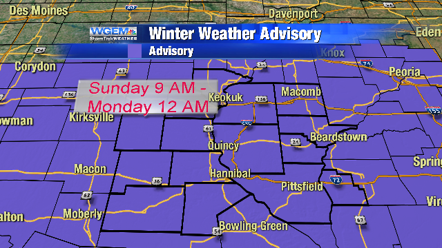 The Tri-States will be under a winter weather advisory on Sunday.