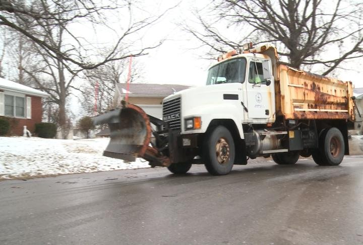 City salt truck on the road