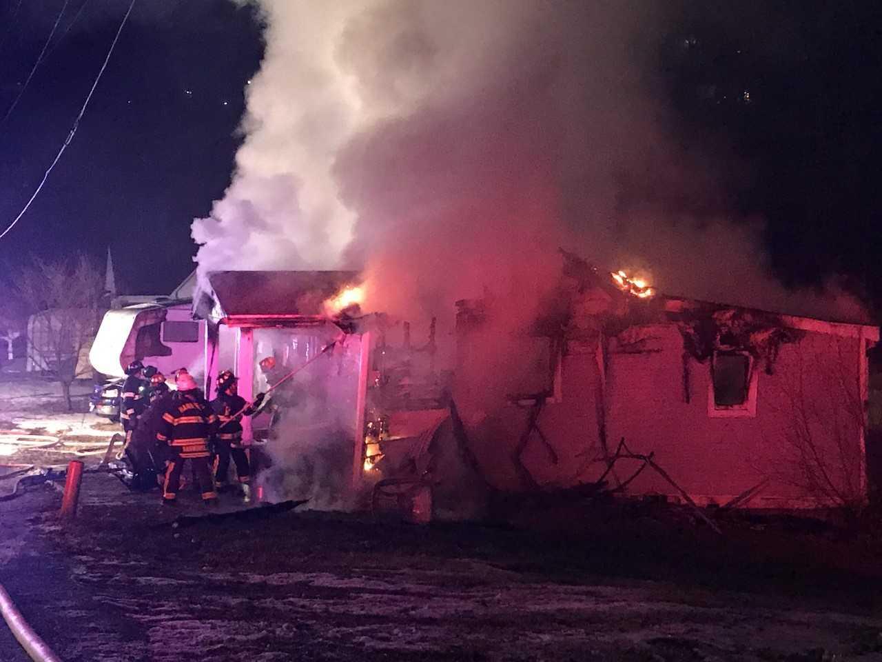 Crews battle a house fire overnight.