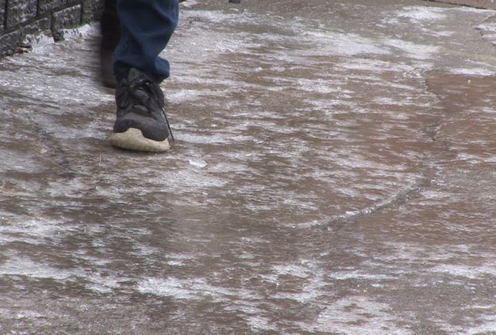 Ice still covered sidewalks on Monday.