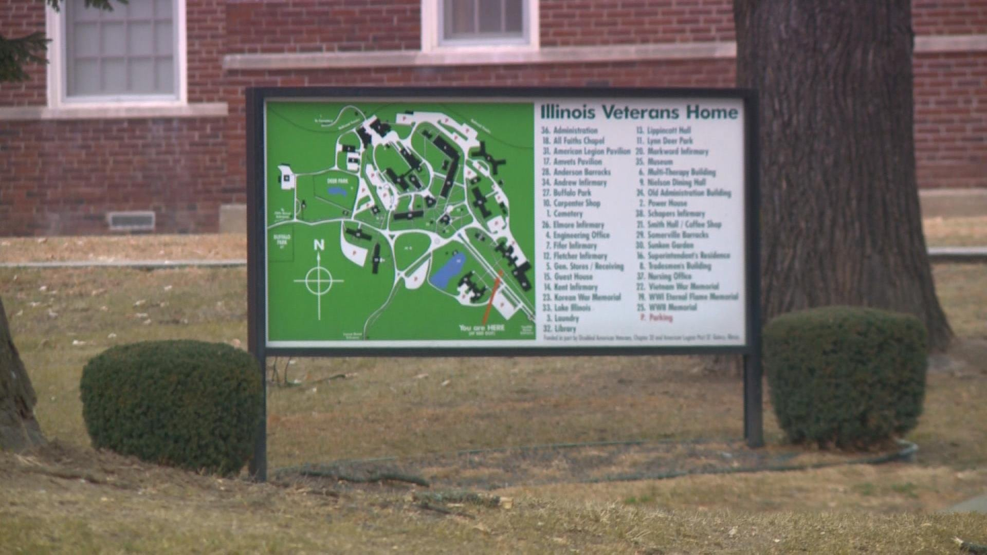 A map showing the grounds of the Illinois Veterans' Home in Quincy.
