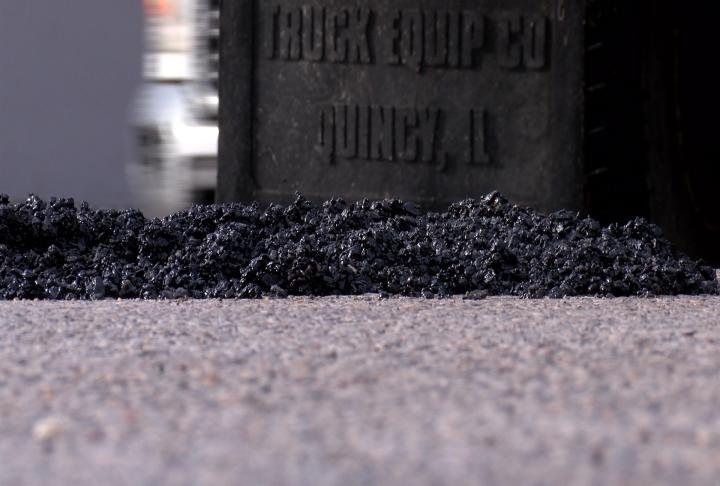 Fresh gravel on the road.