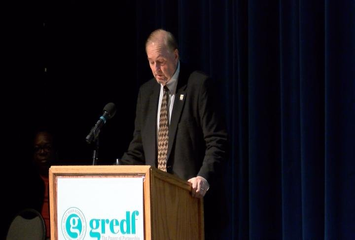 Marcel Wagner speaks at GREDF's annual meeting at the Oakley Lindsay Center.