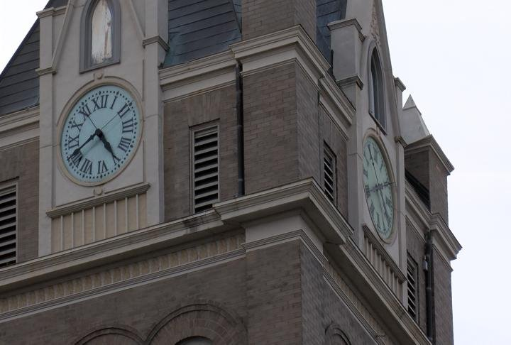 The clock at the top of the Marion County Courthouse.