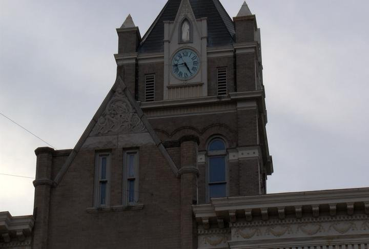 The maintenance director has to go to the top of the county courthouse every month and crank the weights in order to keep the clock ticking.