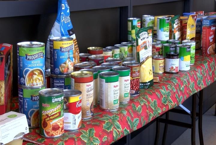 Local organizations collected non-perishable items on Monday.