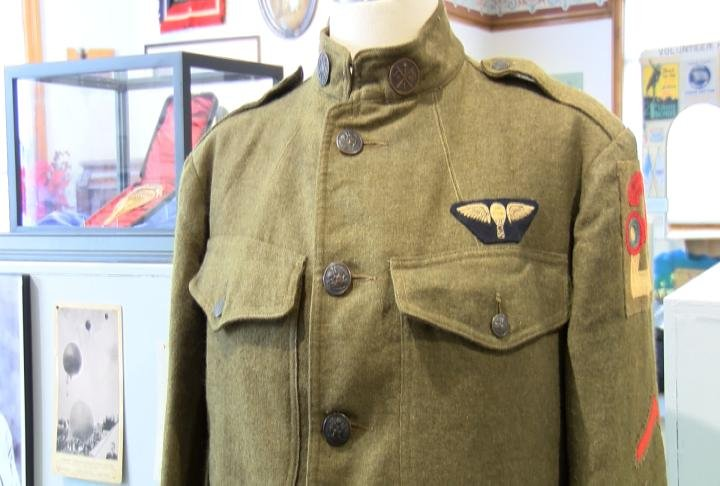 A soldiers uniform in the exhibit