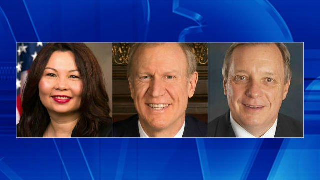 Duckworth, Rauner and Durbin (left to right)