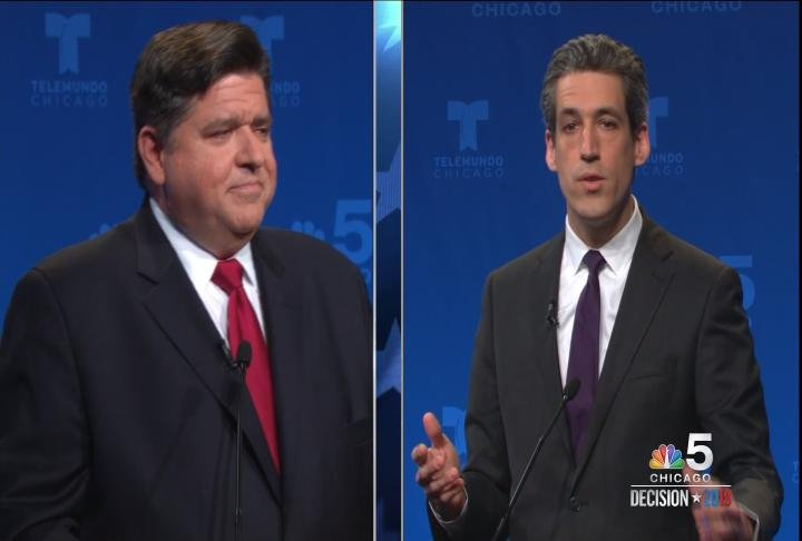 Illinois Democratic Gubernatorial candidates J.B. Pritzker and Sen. Daniel Biss debate during Tuesday's candidate forum.